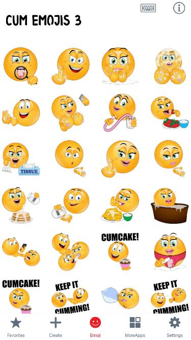 Cum 3 Emoji Stickers