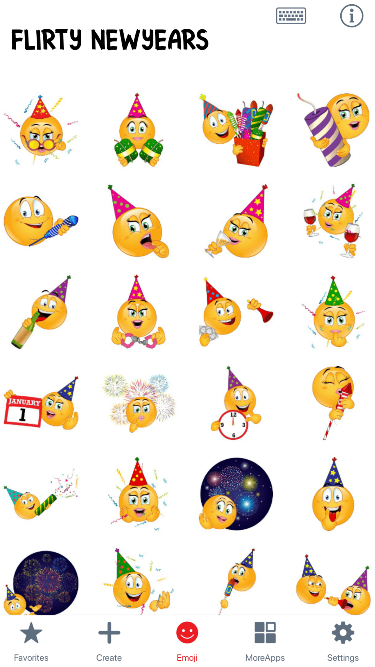 Flirty NewYears Emoji Stickers