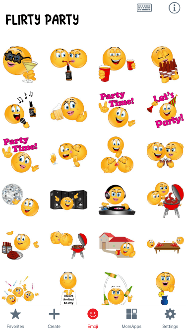 Flirty Party Emoji Stickers