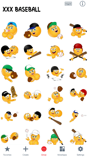 XXX Baseball Emoji Stickers