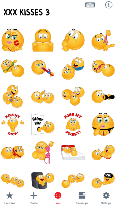 XXX Kisses 3 Emoji Stickers