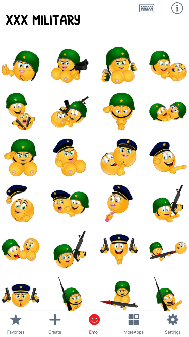 XXX Military Emoji Stickers