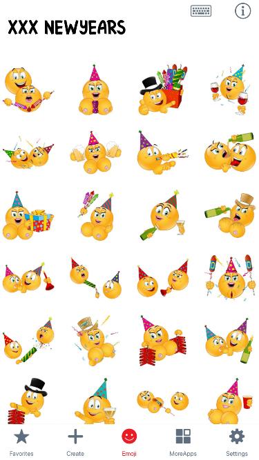 XXX NewYears Emoji Stickers